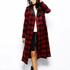 Free People Plaid Sargent Sergeant Trench Coat